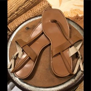 COACH LEATHER CAMEL THONG SANDAL SLEEK SEXY SZ 9
